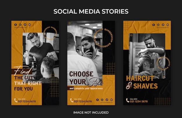 Modèle de salon de coiffure d'histoires instagram de médias sociaux