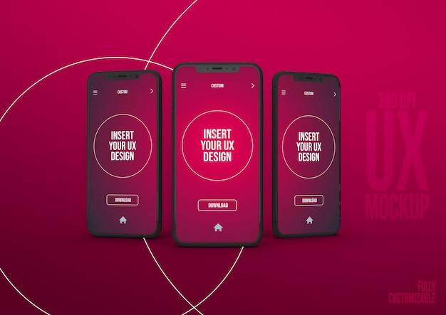Modèle de scène de maquette iphone avec 3 interfaces