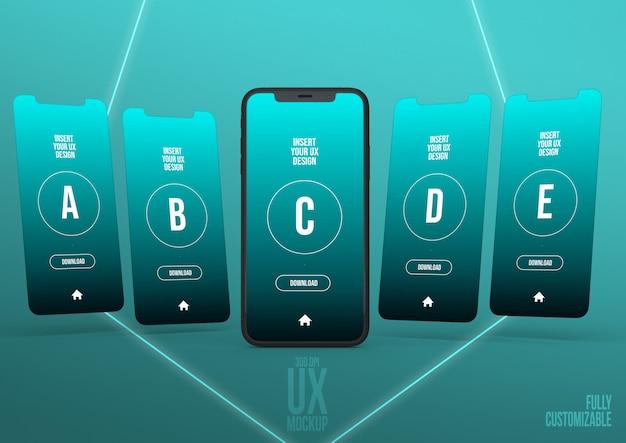 Modèle de scène de maquette iphone avec 5 interfaces