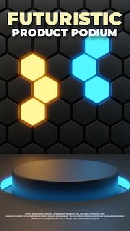 Modèle de scène de podium futuriste, rendu 3d