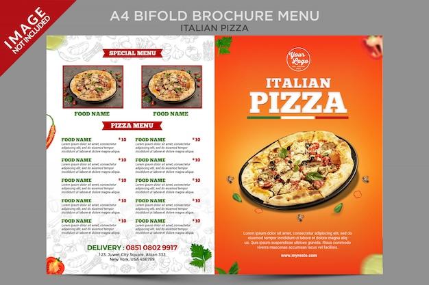 Modèle de série de menus de brochures italiennes à l'extérieur de la pizza