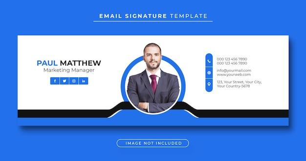 Modèle de signature d'e-mail ou pied de page d'e-mail et couverture facebook personnelle