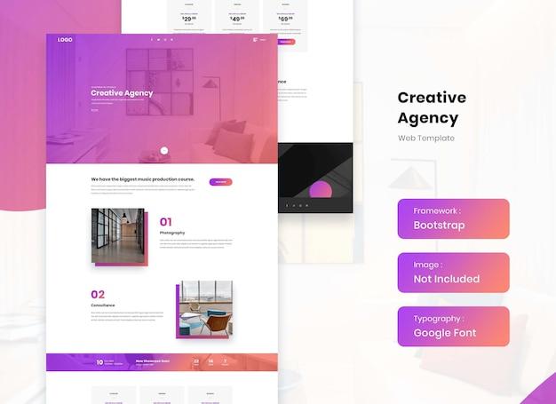 Modèle de site web d'agence de création et d'entreprise de médias numériques