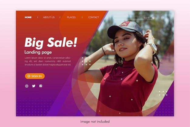 Modèle de site web de page de destination de grande vente
