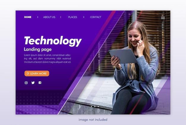 Modèle de site web de page de destination technologique