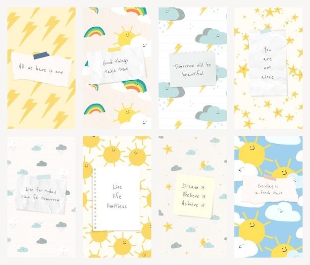 Modèle social de citation de motivation psd avec ensemble de bannières de doodle météo mignon