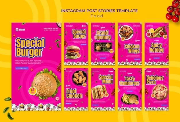 Modèle spécial d'histoires instagram de hamburger