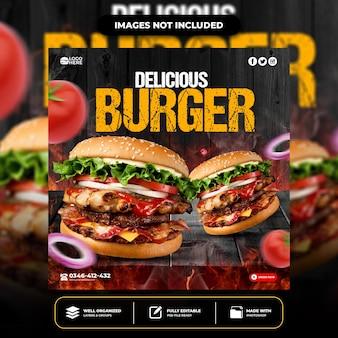 Modèle spécial de publication sur les réseaux sociaux burger délicieux