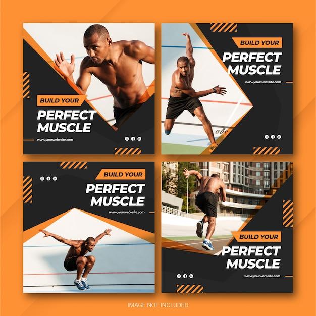 Modèle de sport d'athlète instagram bundle post