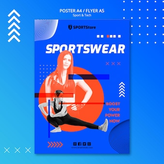 Modèle sport et technologie pour affiche