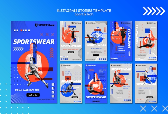 Modèle de sport et de technologie pour les histoires instagram