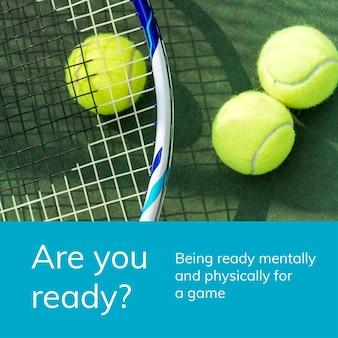 Modèle de sport de tennis psd citation de motivation publicité sur les réseaux sociaux