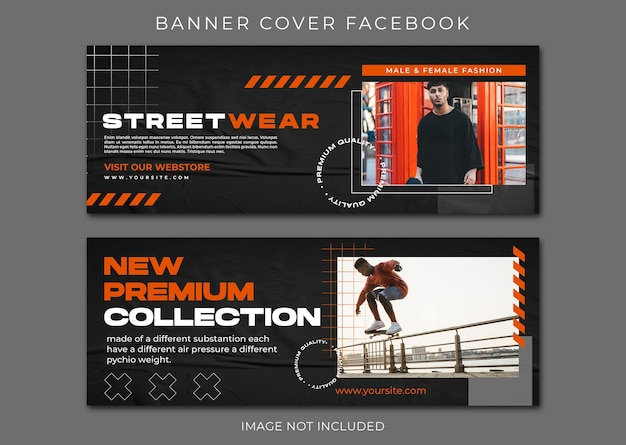 Modèle de streetwear de mode urbaine de couverture facebook