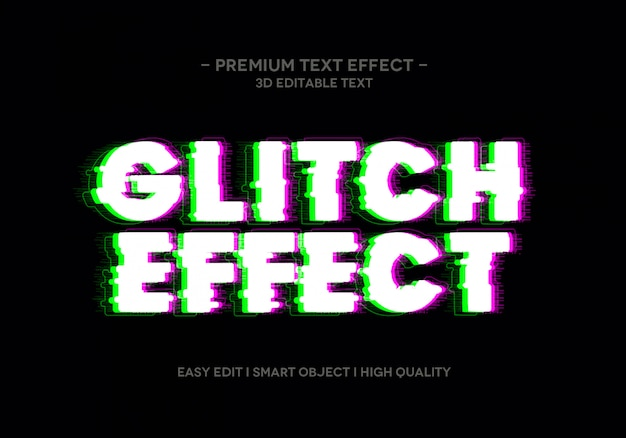 Modèle de style d'effet de texte glitch