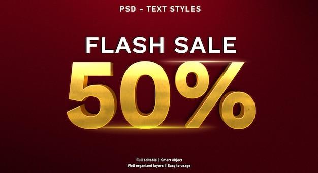 Modèle de style d'effet de texte de vente flash