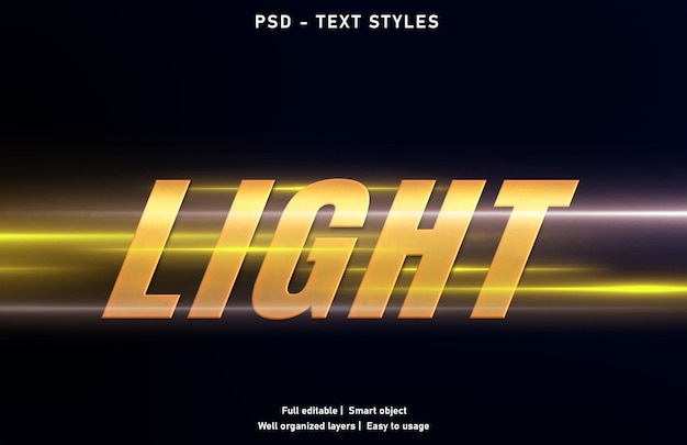 Modèle de style d'effets de texte clair