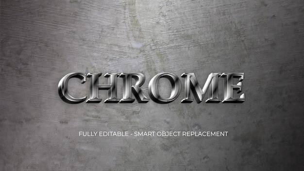 Modèle de style de texte en métal chromé