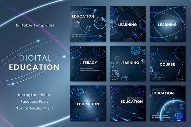 Modèle de technologie d'éducation futuriste psd collection de publications sur les médias sociaux