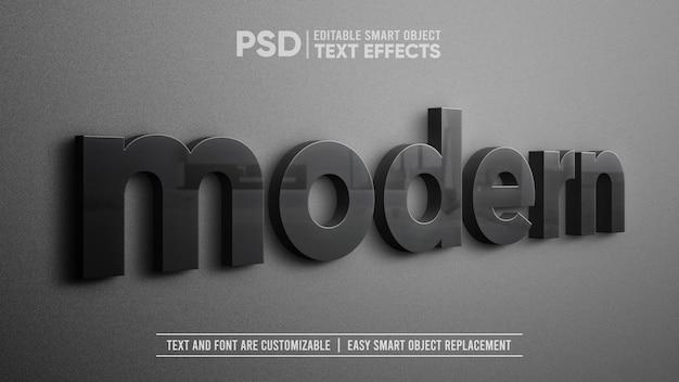 Modèle de texte en céramique noire élégante réaliste vue latérale de perspective 3d