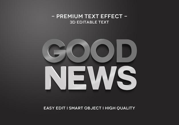 Modèle de texte d'effet de style de texte 3d de bonnes nouvelles
