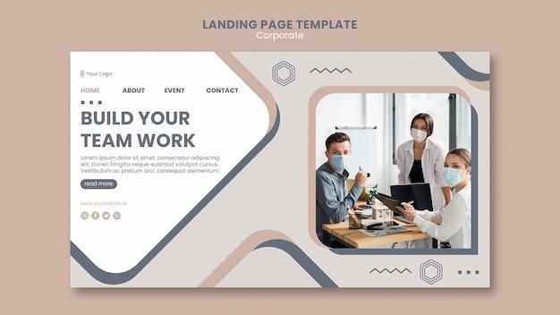 Modèle de travail d'équipe de page de destination