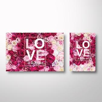 Modèle de valentine avec des fleurs sur le fond