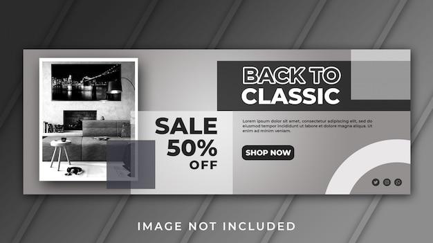 Modèle de vente de meubles de couverture facebook de bannière
