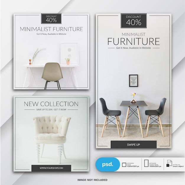 Modèle de vente de meubles instagram stories et feed post bundle