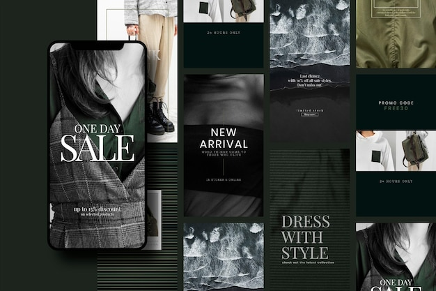 Modèle de vente de mode unisexe psd défini dans les tons vert et foncé