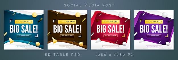 Modèle de vente pour la publication de bannière de médias sociaux