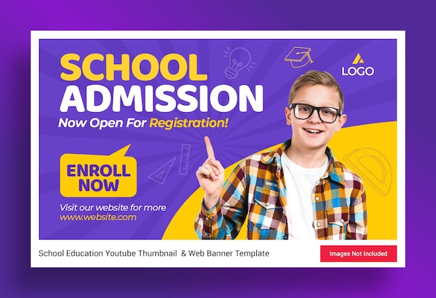 Modèle de vignette et de bannière web pour l'admission à l'enseignement scolaire