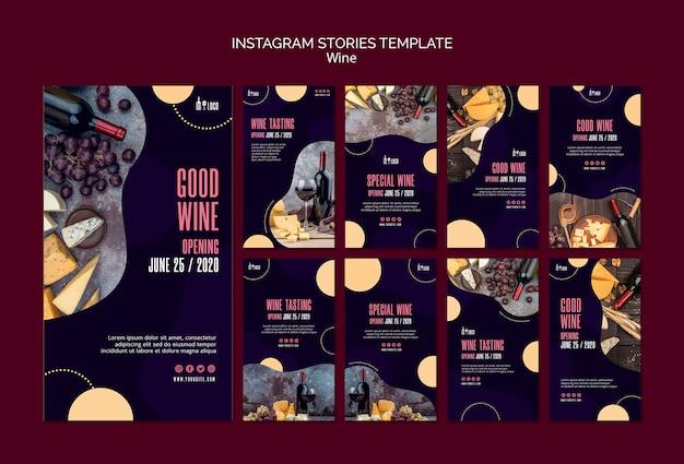 Modèle de vin pour les histoires instagram