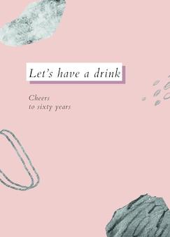 Modèle de voeux d'anniversaire pour personnes âgées psd avec texte buvons un verre