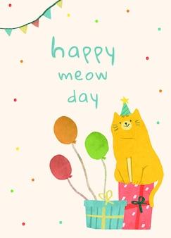 Modèle de voeux d'anniversaire psd avec illustration de chat