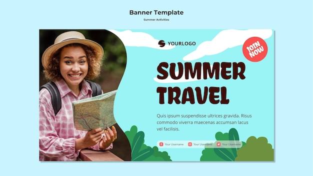 Modèle de voyage d'été de bannière