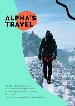 Modèle de voyage de trekking en montagne psd pour l'affiche publicitaire des agences