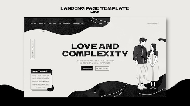 Modèle web d'amour noir et blanc