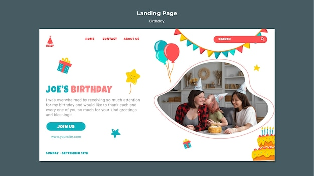 Modèle web d'anniversaire pour enfant