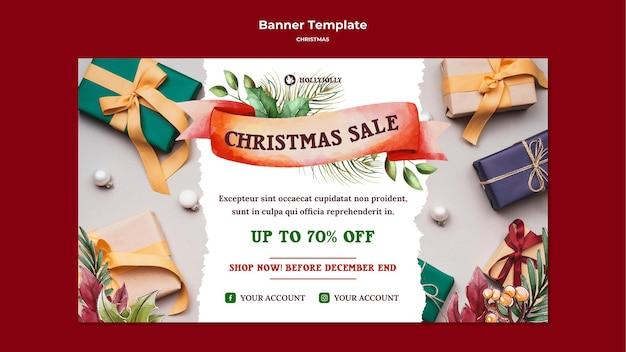 Modèle web de bannière de cadeaux emballés