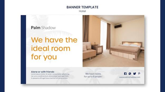 Modèle web de bannière de chambre d'hôtel idéal