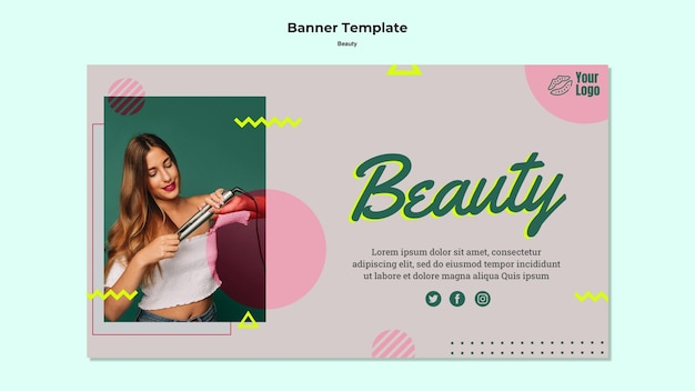 Modèle web de bannière de concept de beauté