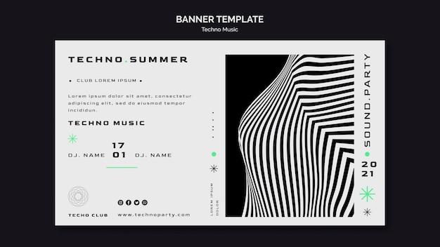 Modèle web de bannière de festival de musique techno