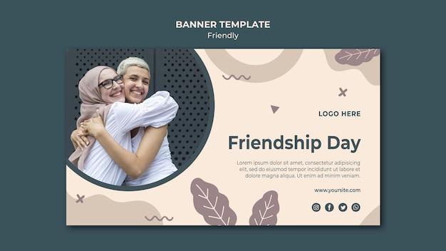 Modèle web de bannière de la journée de l'amitié