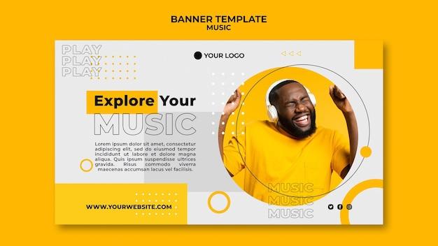 Modèle web de bannière de musique écoute homme
