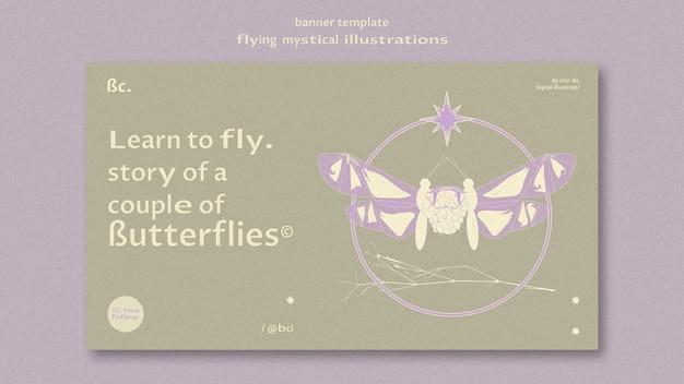 Modèle web de bannière papillon mystique volant