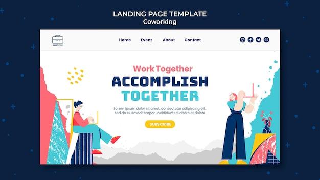 Modèle web de coworking illustré