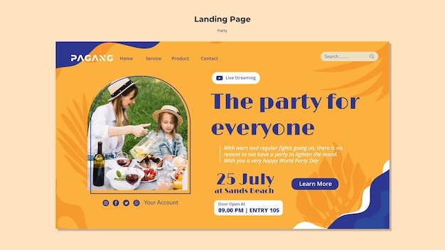 Modèle web de diffusion en direct de fête