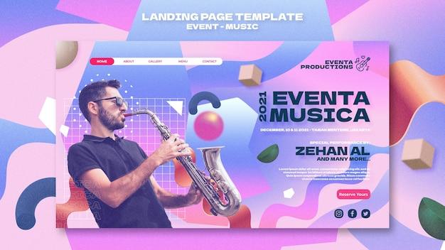 Modèle web d'événement musical dans un style rétro