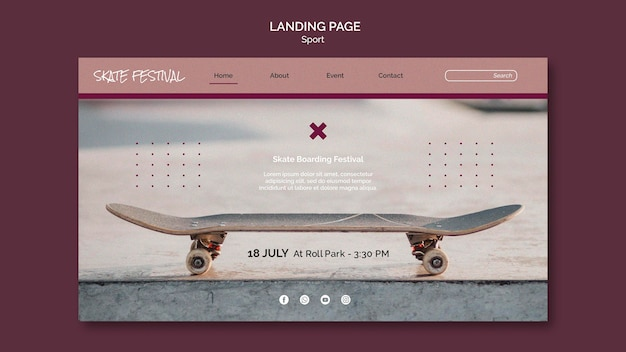 Modèle web de festival de skate