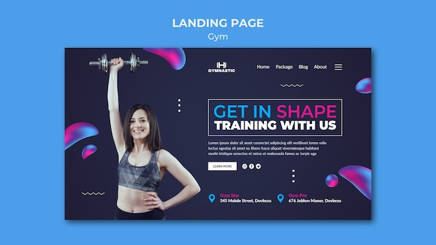 Modèle web de gym avec photo